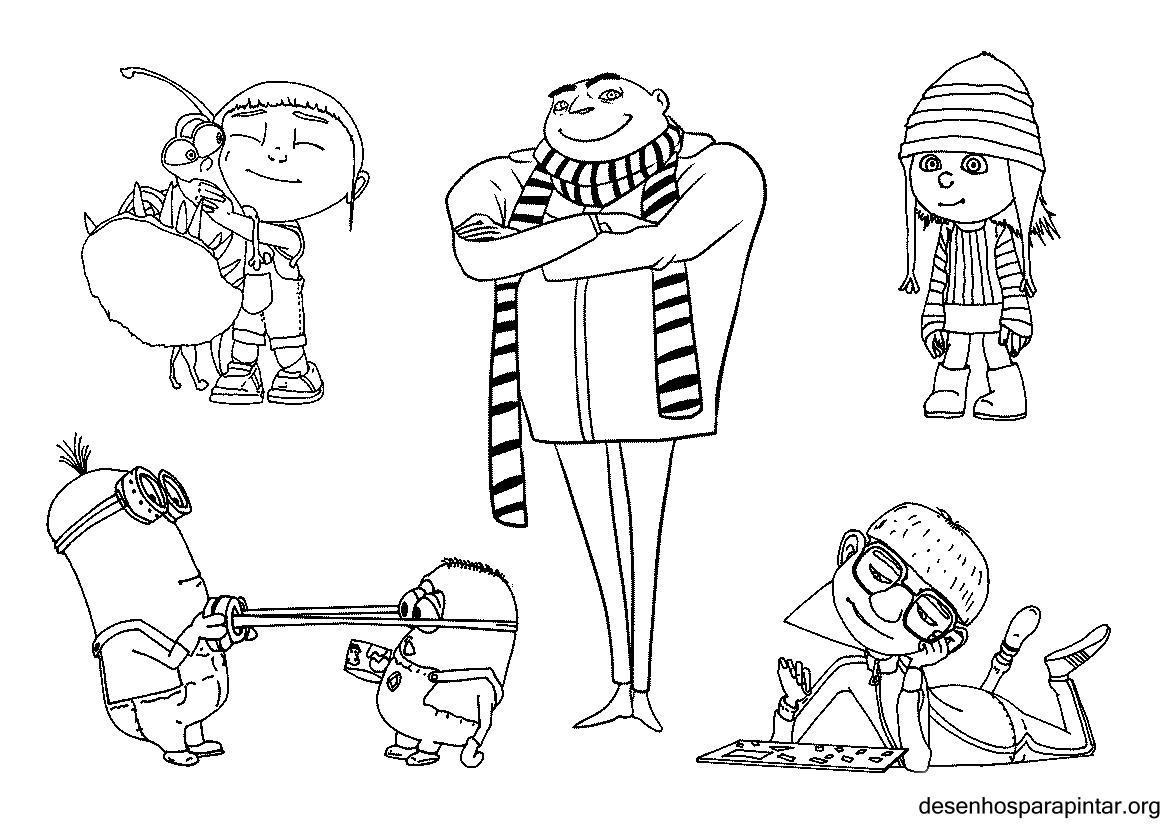 meu malvado favorito e os minions desenhos para imprimir colorir e
