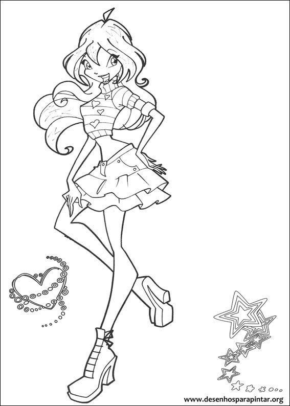 Winx club desenhos para imprimir colorir e pintar - Coloriage de bloom ...