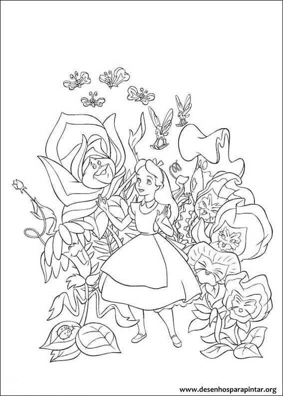Alice No Pa 237 S Das Maravilhas Desenhos Para Imprimir Pintar