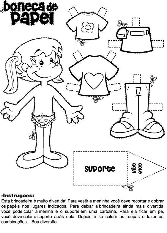 bonecas de papel para imprimir colorir recortar e brincar