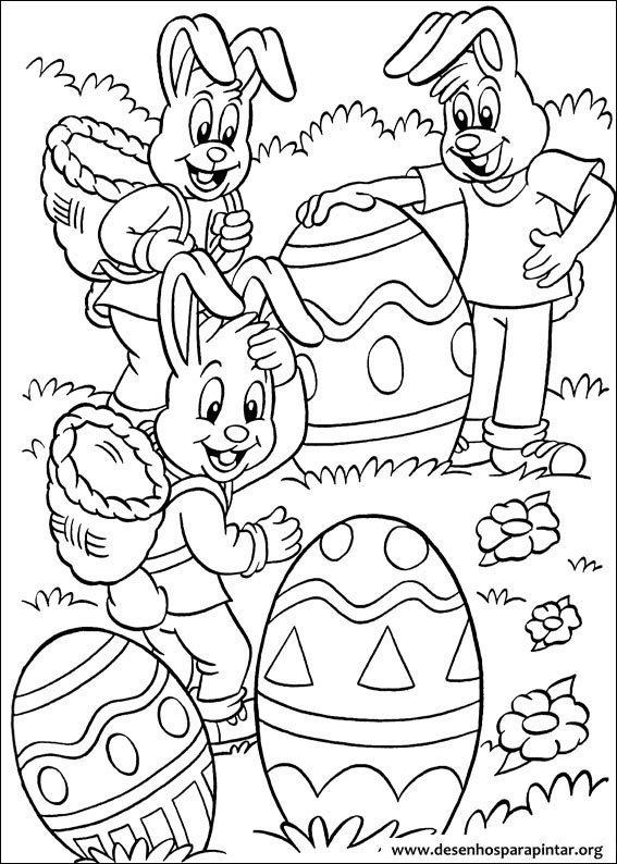 Coelho Da P Scoa E Ovos Desenhos Para Imprimir Colorir