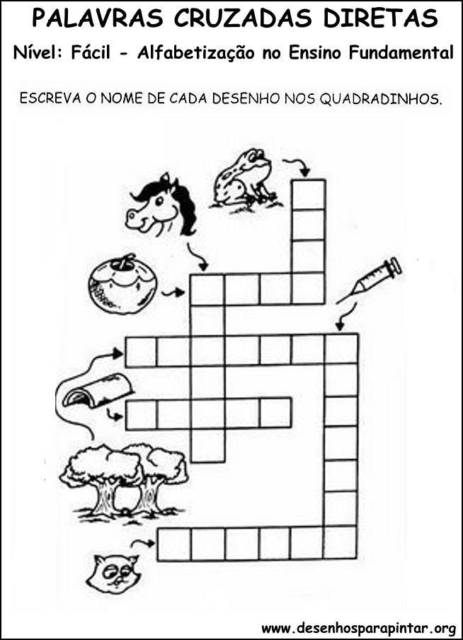 Palavras Cruzadas Para Criancas Em Alfabetizacao No Ensino