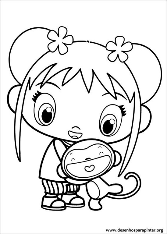 Ni hao kai lan desenhos para imprimir colorir e pintar deste simp tico seriado chin s desenhos - Coloriage petit singe ...