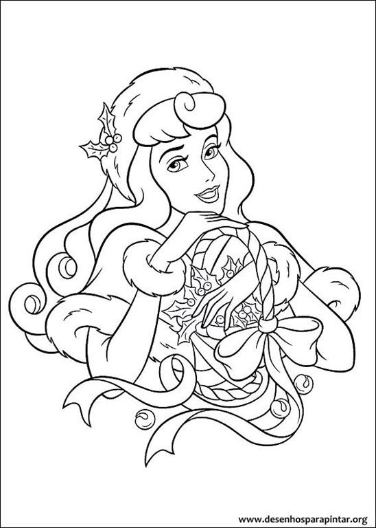 Princesas disney de natal desenhos para colorir imprimir e - Figuras navidenas para imprimir ...