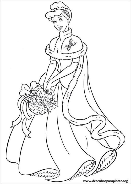 Princesas Disney De Natal Desenhos Para Colorir Imprimir E