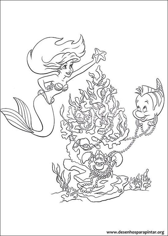 Princesas disney de natal desenhos para colorir imprimir e - Coloriage princesse ariel ...
