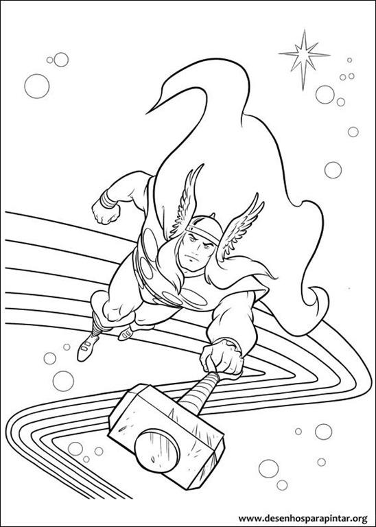 Thor o filho de Odin desenhos para imprimir colorir e pintar Desenhos para pintar e colorir