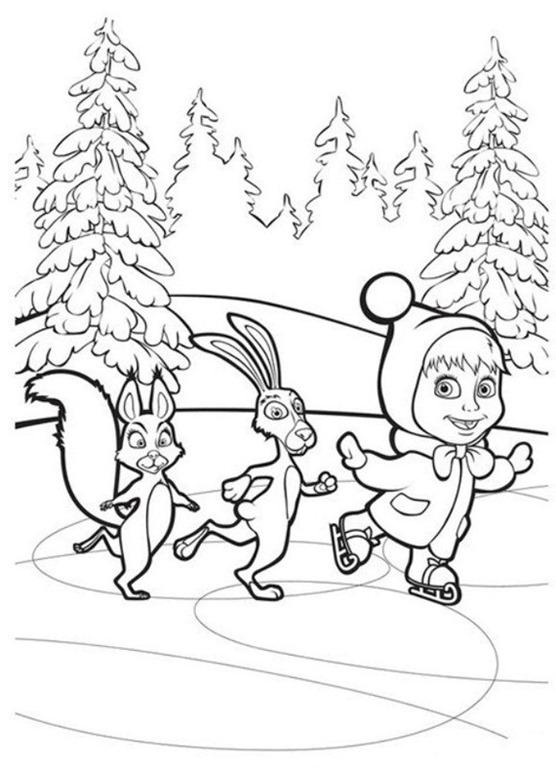 Masha e o Urso desenhos para imprimir