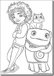 Cada um na sua Casa desenhos para imprimir colorir e pintar do alienigina O e seus amigos