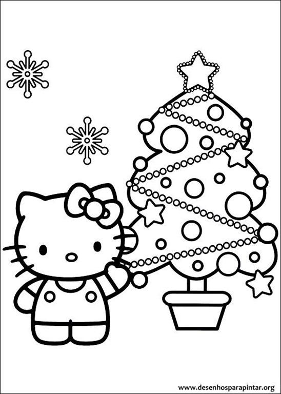 Hello Kitty De Natal Desenhos Para Imprimir Colorir E