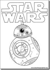 """Desenhos para pintar do BB8 Chewbacca Jedi e outros personagens do novo Star Wars """"O Despertar da Força"""". Desenhos para imprimir e colorir."""