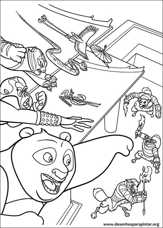 Kleurplaat Carnaval Disney Kung Fu Panda E Os Cinco Furiosos Desenhos Para Imprimir