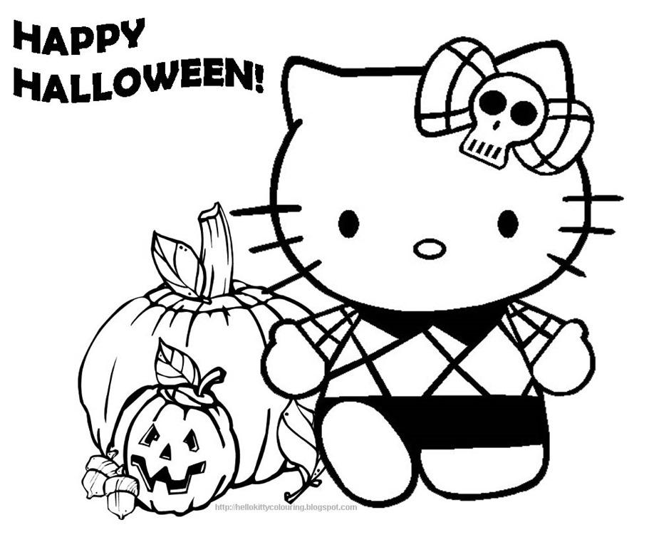 Hello Kitty No Dia Das Bruxas Halloween Desenhos Para Colorir