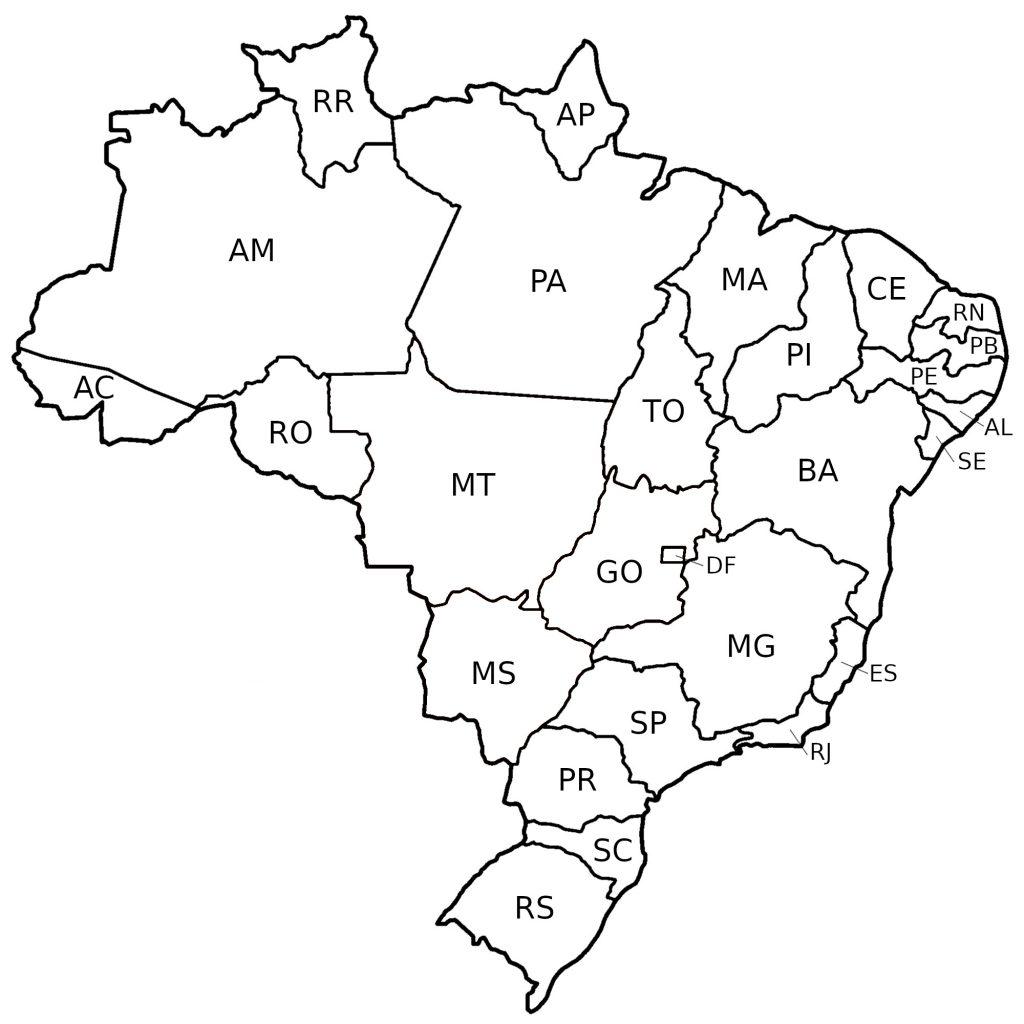 Mapa Político do Brasil - desenhos para colorir imprimir e pintar