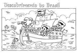 Descobrimento do Brasil 22 de abril desenhos para colorir imprimir pintar